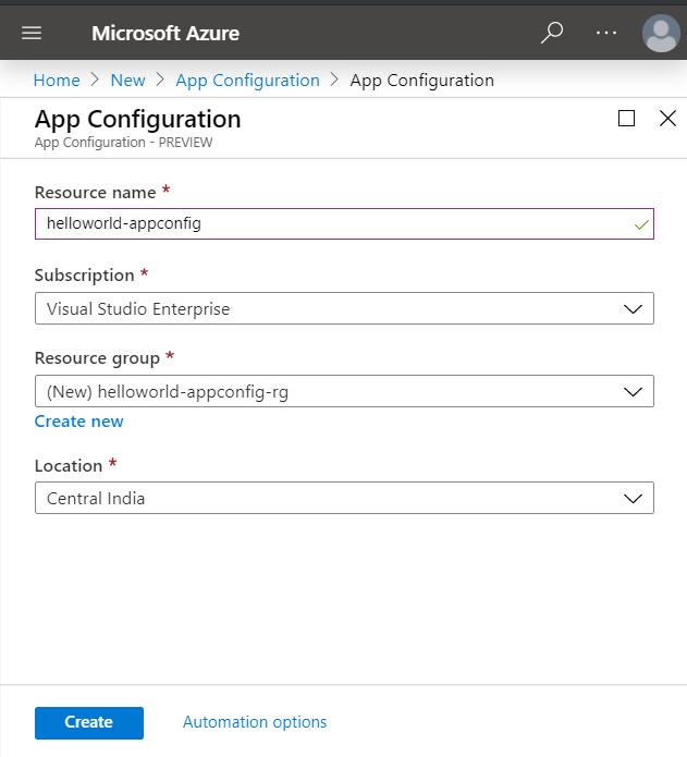 Create new Azure App Configuration