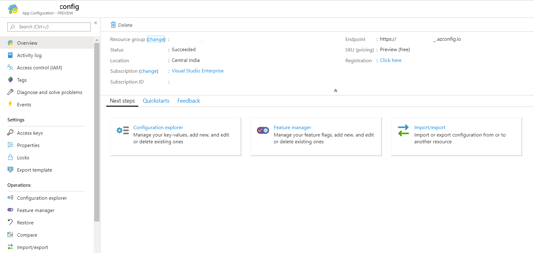 Azure App Configuration - Feature Manager - Settings