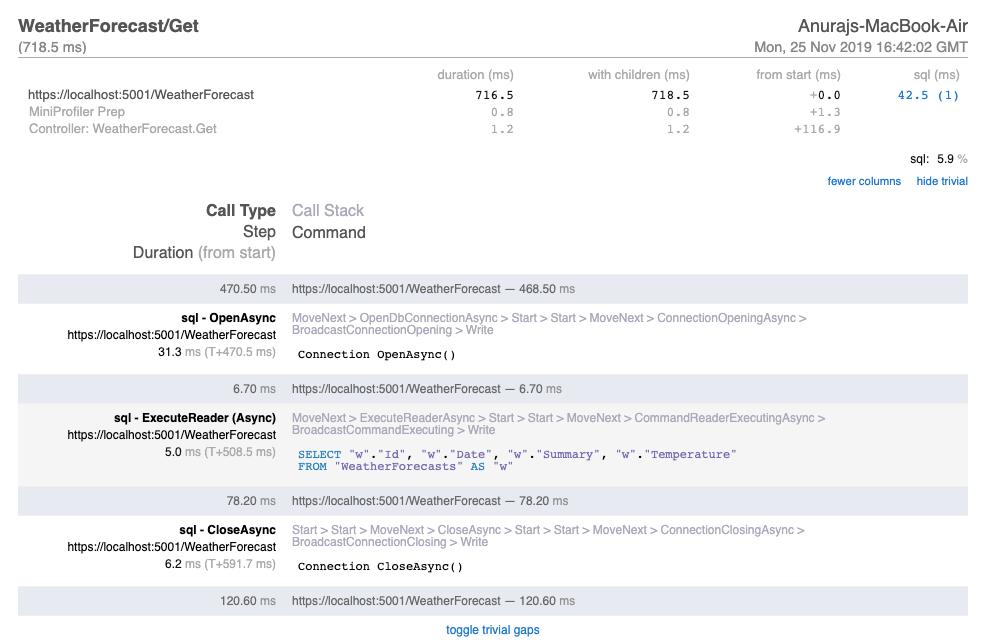 MiniProfiler Results in ASP.NET Core Web API