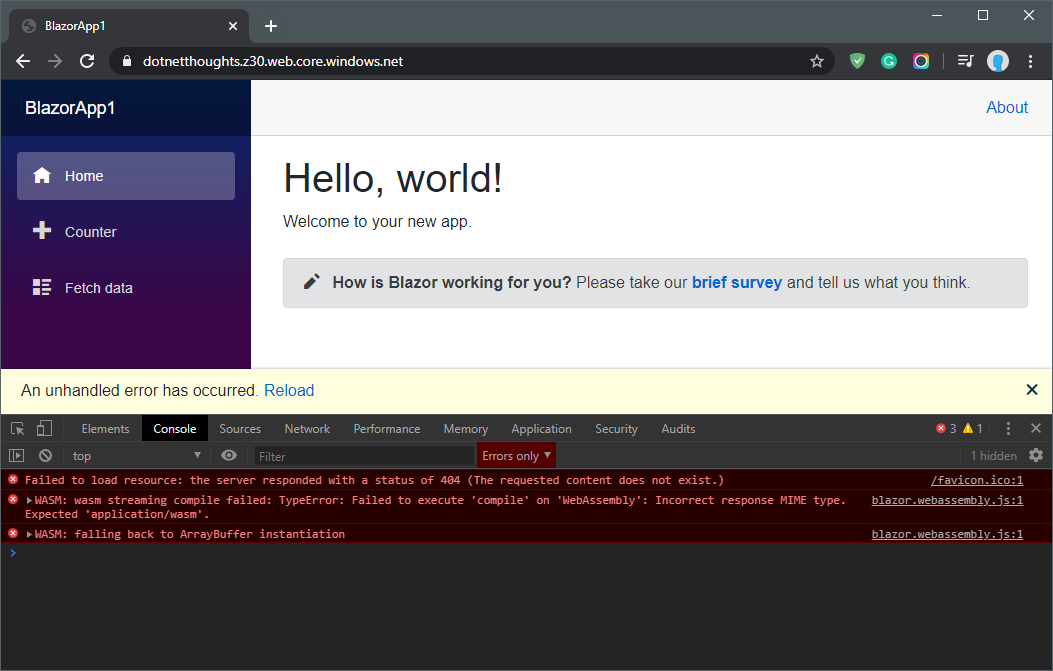 Mono.wasm content type error