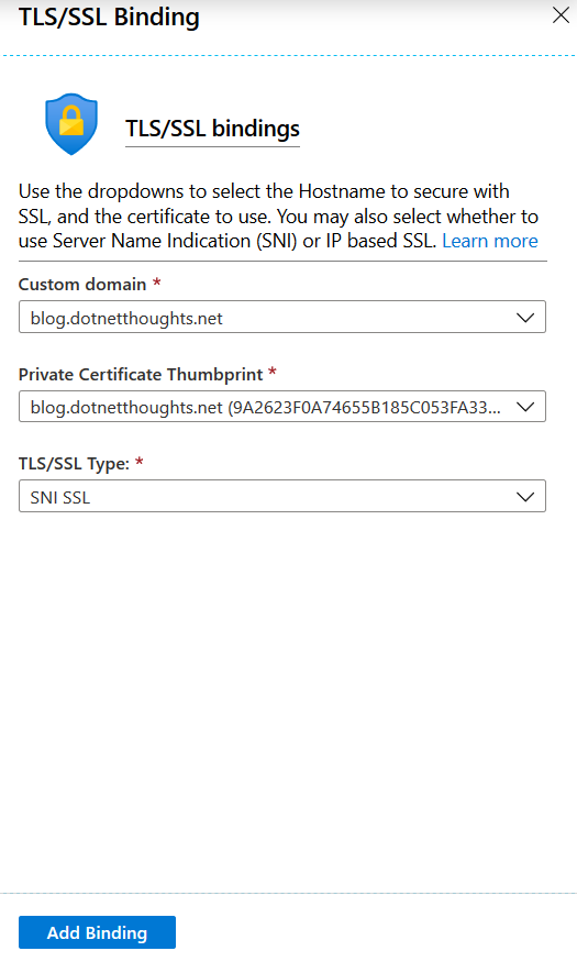 Add SSL binding