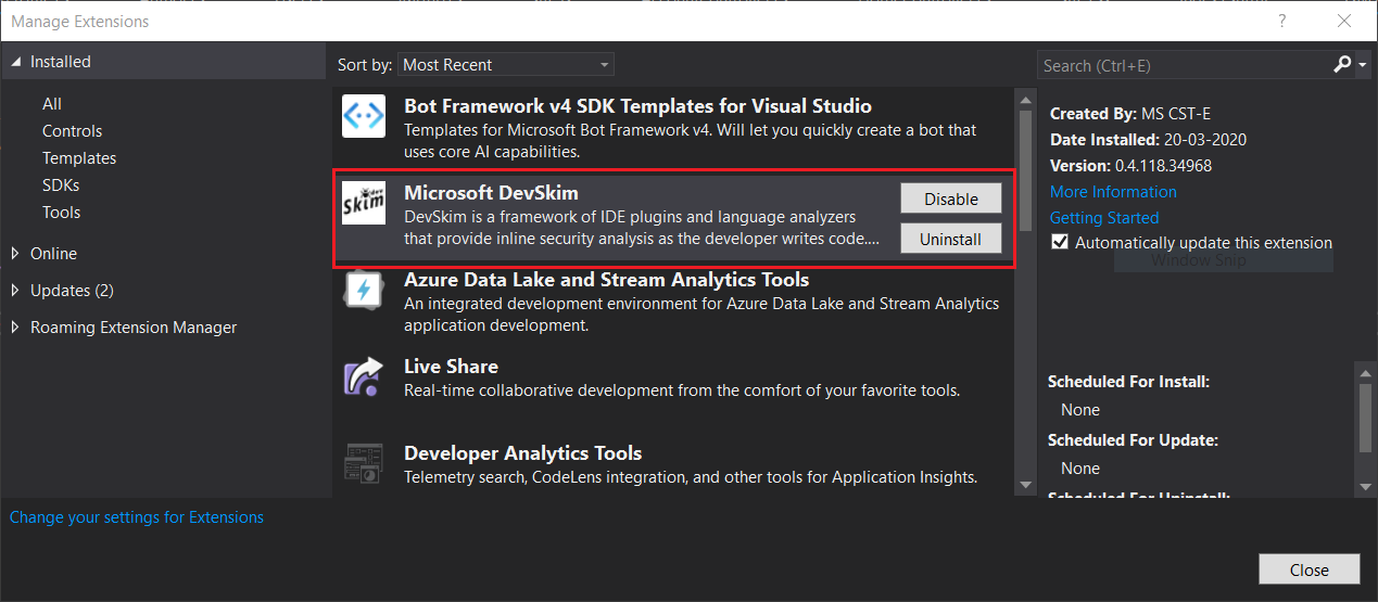 DevSkim Visual Studio