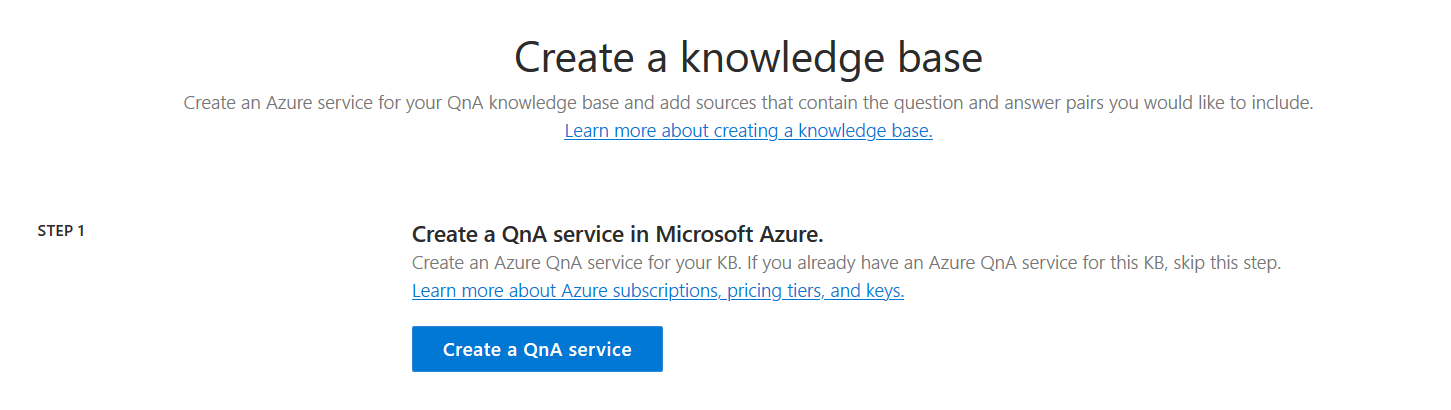 Create Knowledgebase — Azure QnA Maker