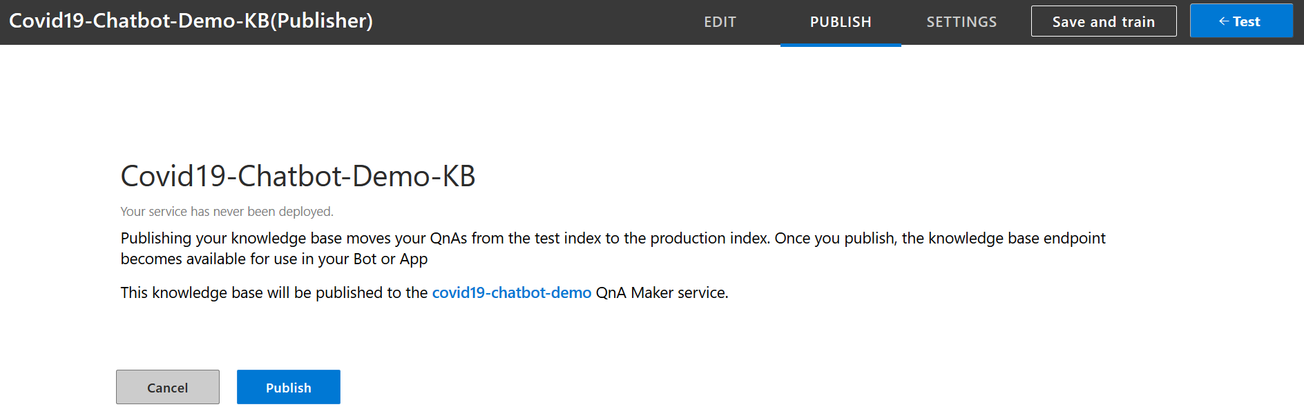 Publish Knowledgebase to consume it in services and bot framework.