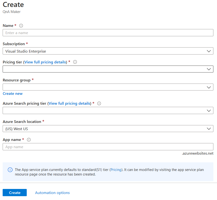 Create QnA Service — Azure Portal