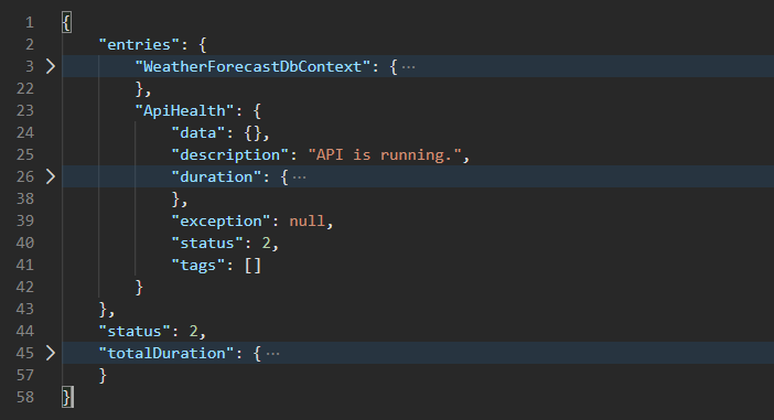 Health endpoint with DbContext