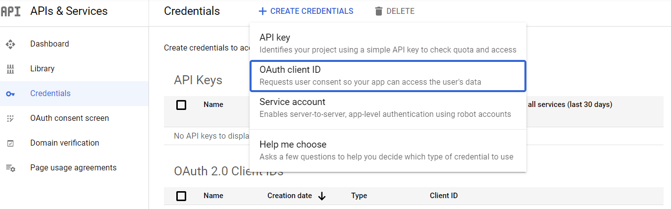 Create new OAuth 2.0 Client
