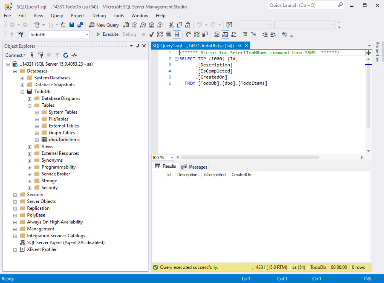 SQL Server Management studio connecting to SQL Server docker container