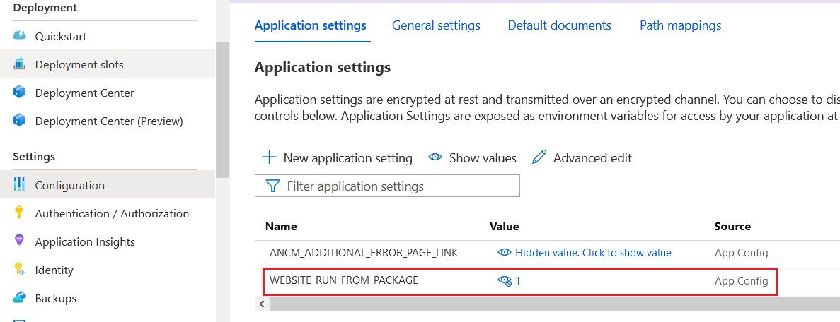 Azure App Service Configuration