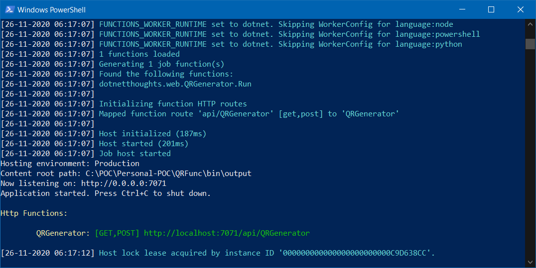 QR Code generator Function running
