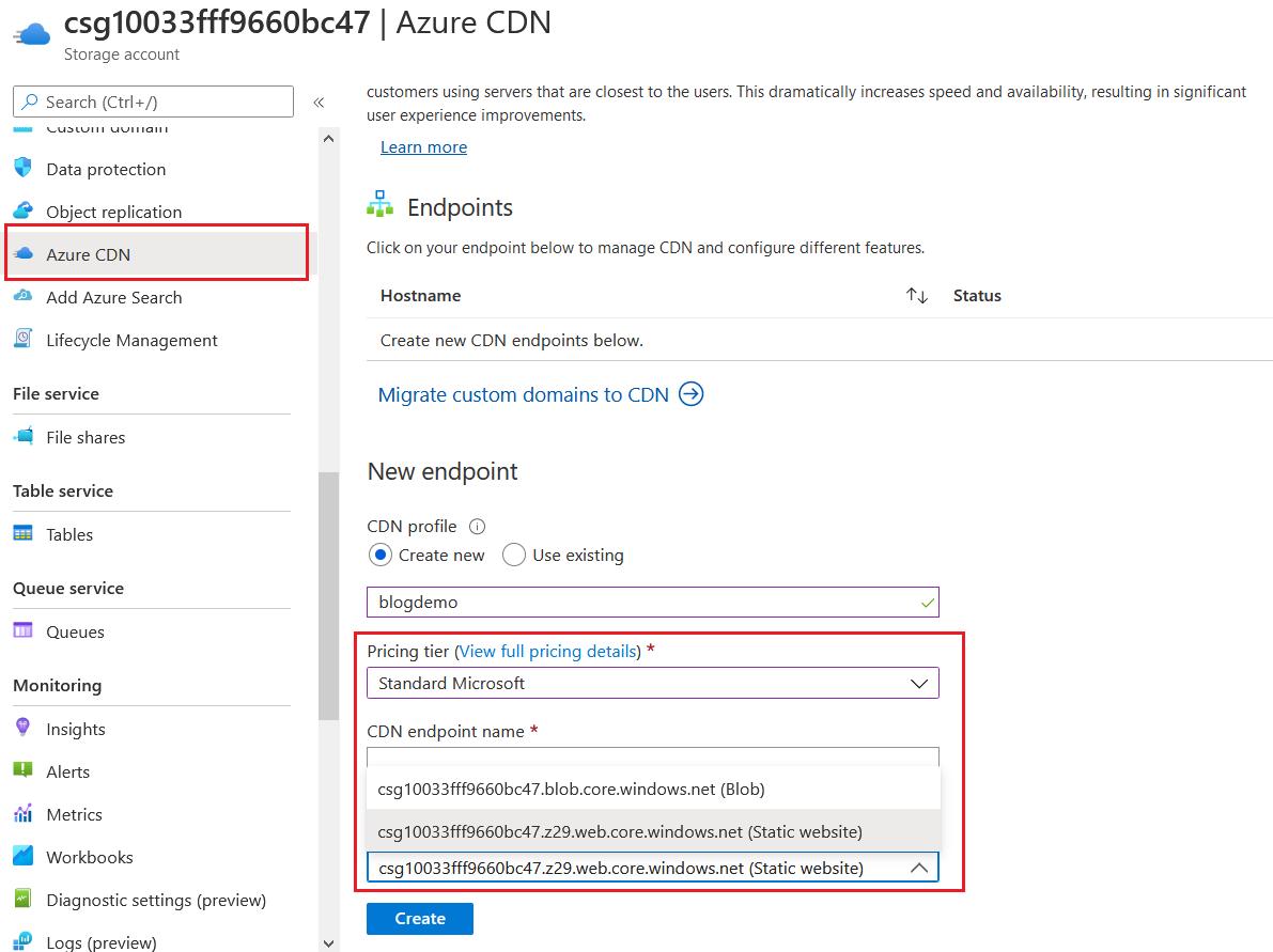 Azure CDN configuration
