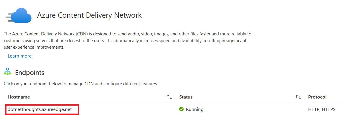 Azure CDN configuration - Endpoint