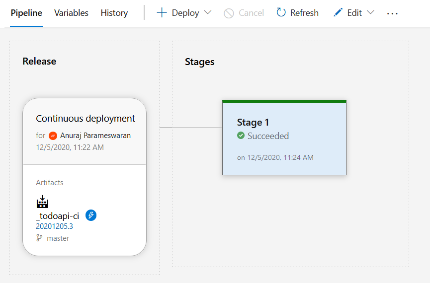 Azure DevOps Release pipeline completed