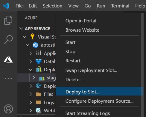 VS Code Deployment to slot