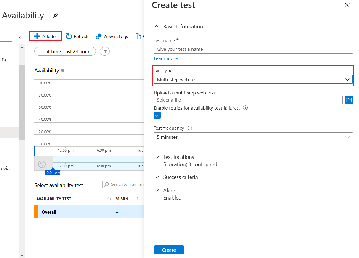 Configure Availability Tests