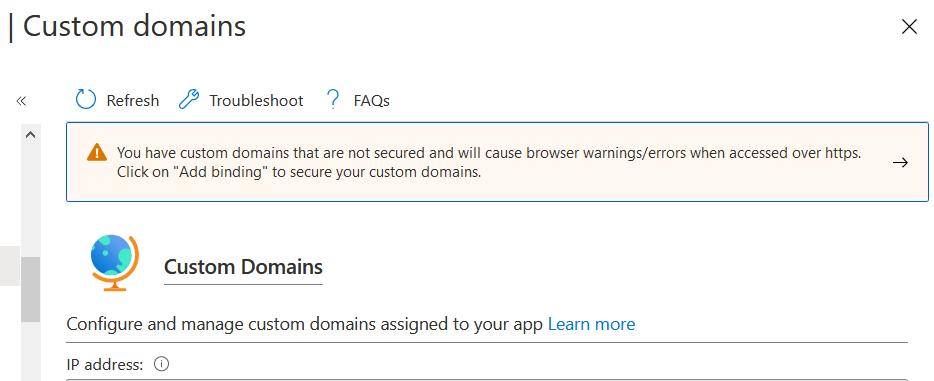 Custom domain SSL warning