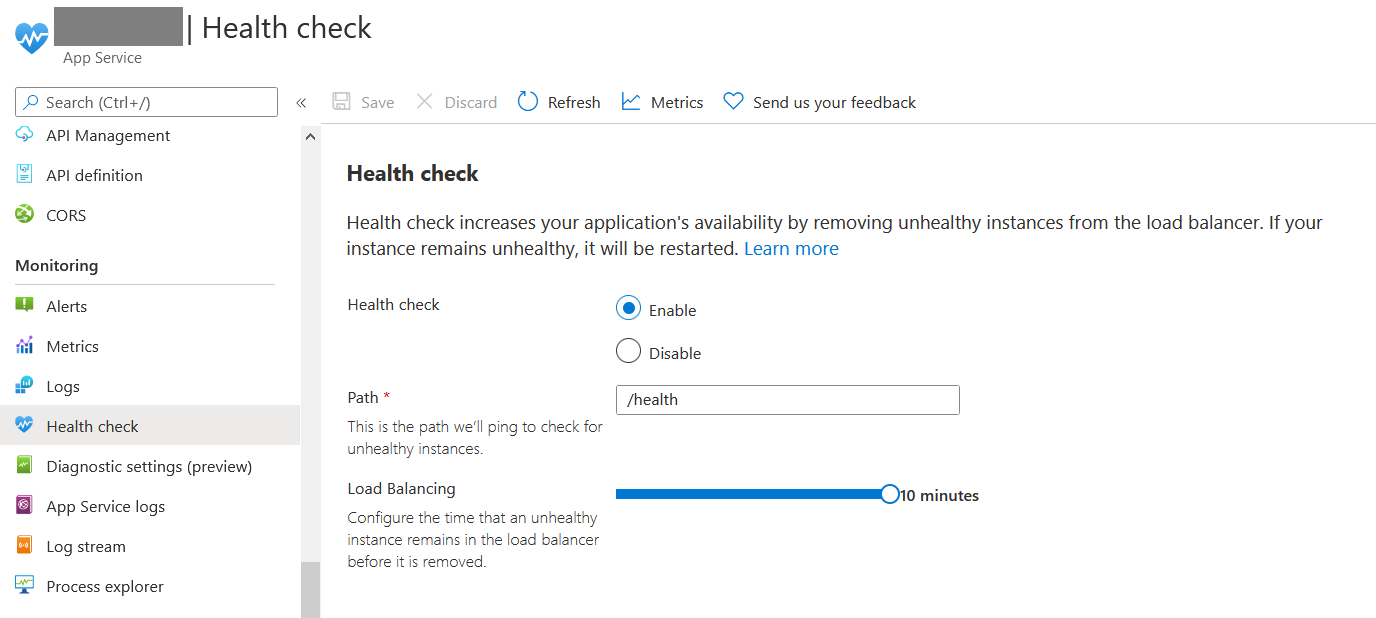 Enable Health Check in Azure App Service