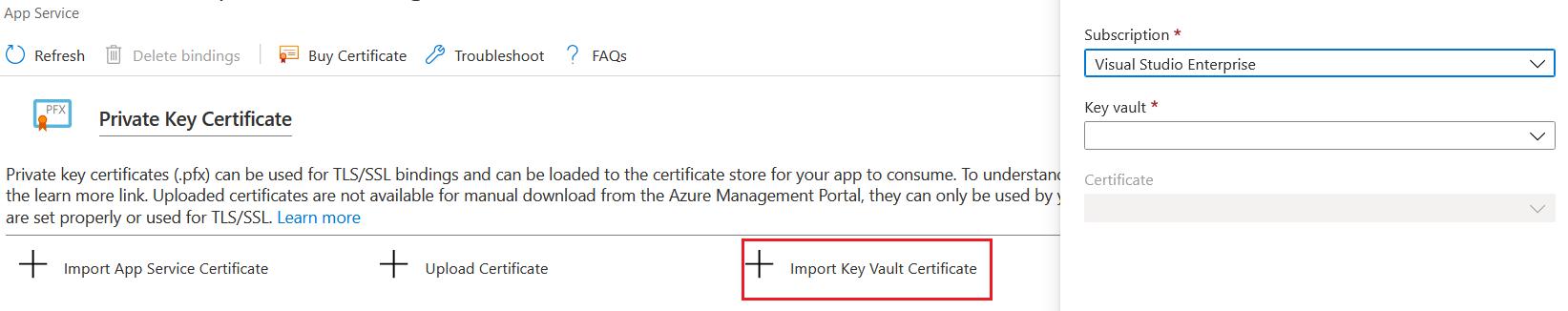 Import Key Vault Certificate