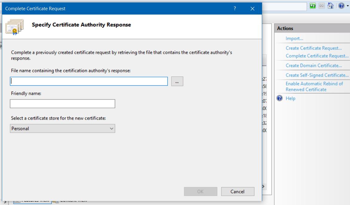 Complete Certificate Request