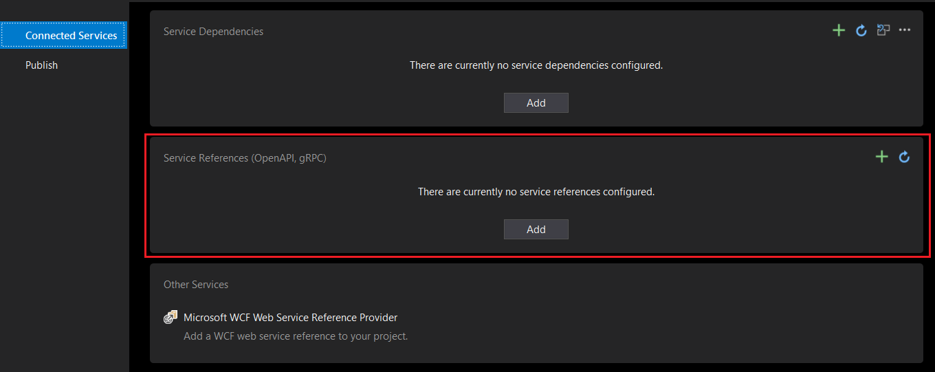 Add Connected Service from Visual Studio