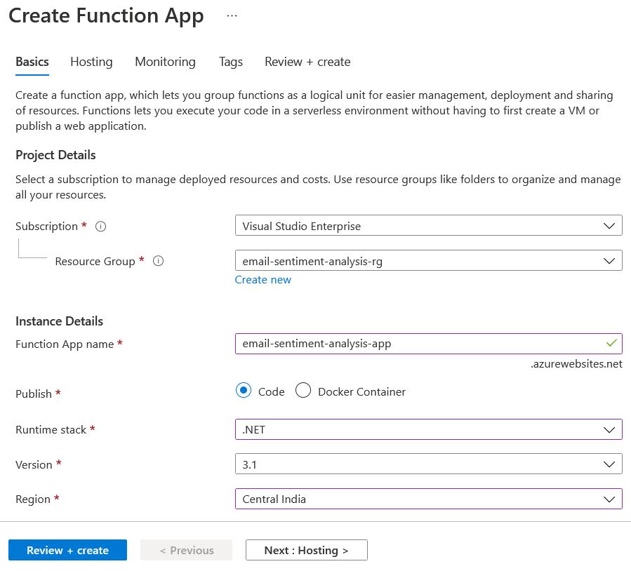 Create Function App