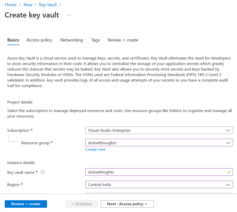 Create Azure Key Vault