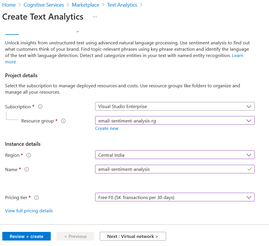 Text Analytics - Create Resource