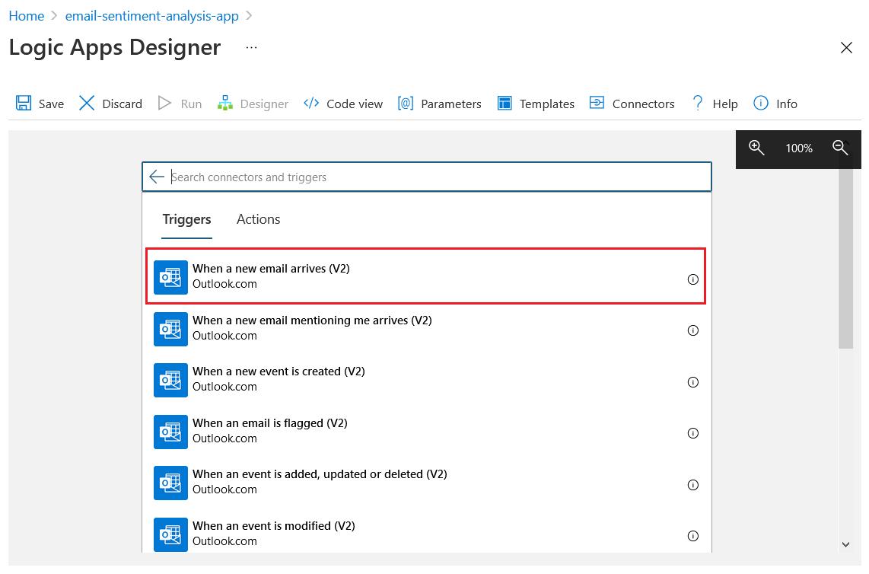 Logic App Designer - Outlook trigger