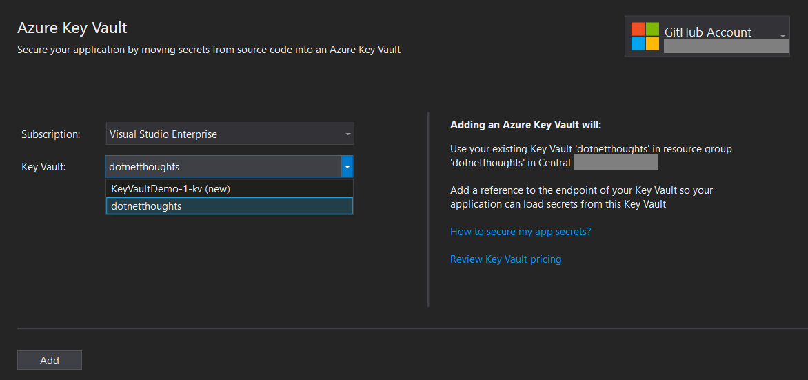 Connect and Select Azure Key Vault