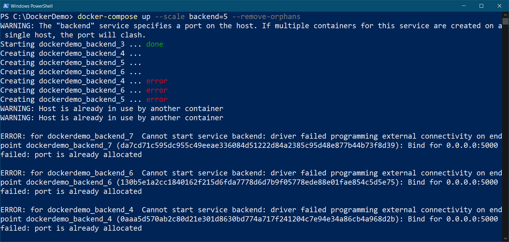 Log from Docker compose up command with Scale