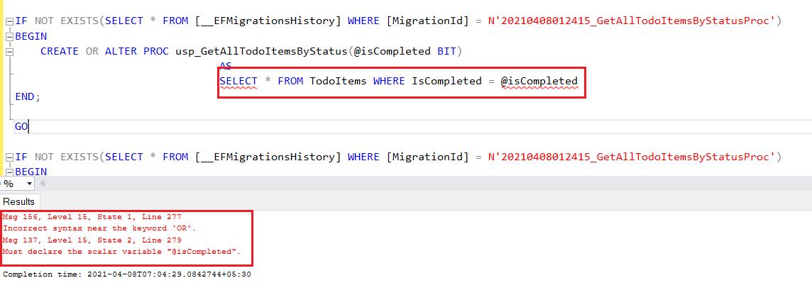 EF Core Stored Procedure Error