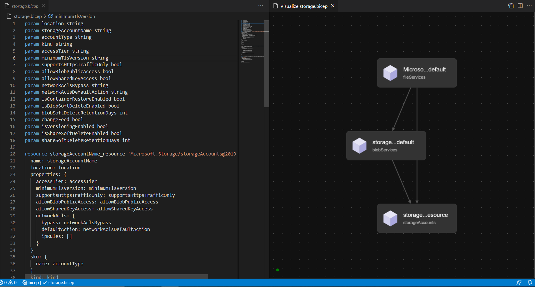 VS Code Bicep Extension Visualization