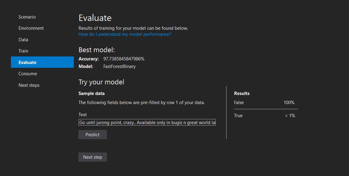 ML Builder - Evaluate