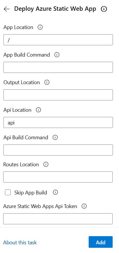 Static Web App Task Configuration