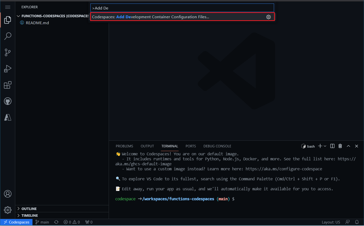 Add Dev Container