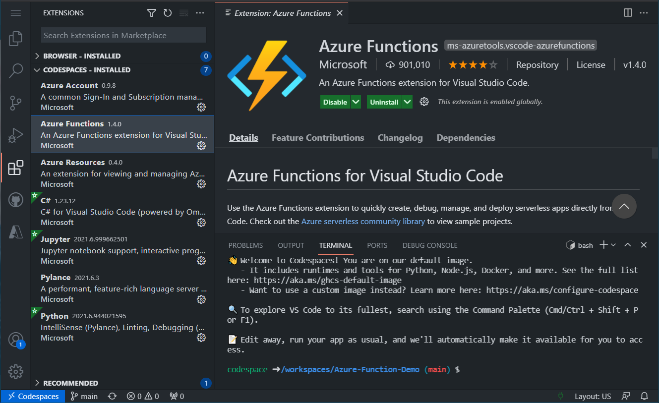 Azure Function extension