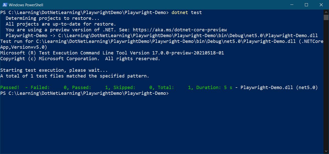 dotnet test command