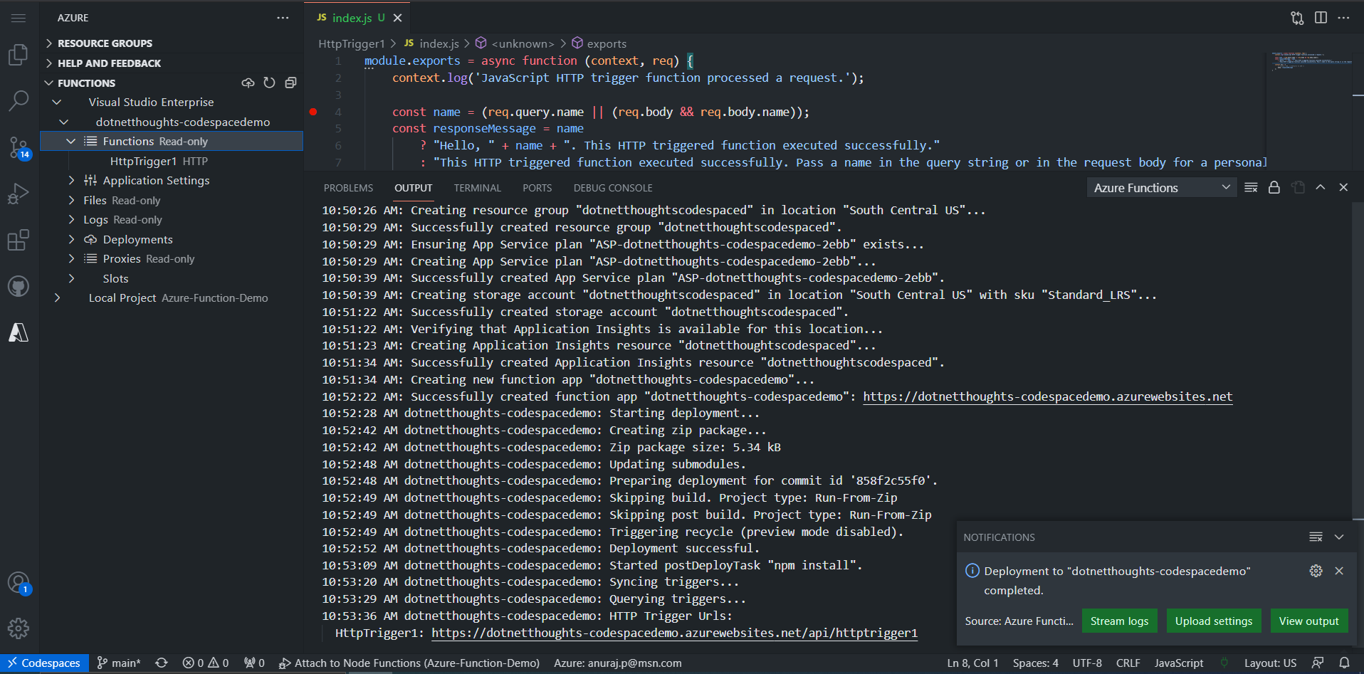 Node JS function deployment completed
