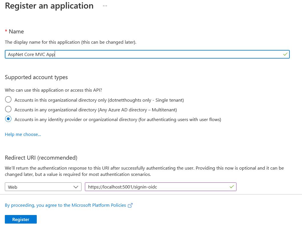 Azure B2C Create new App registration