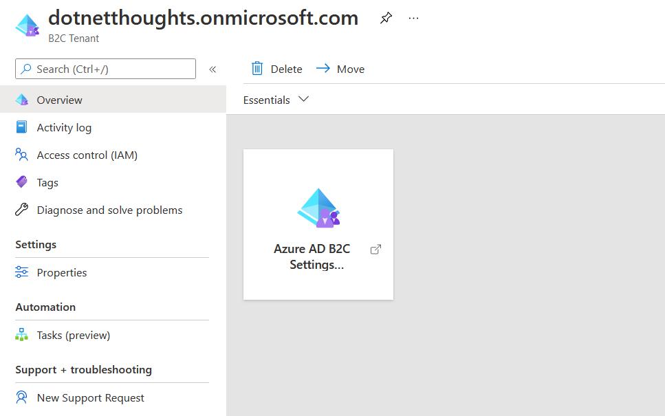 Azure AD B2C Settings