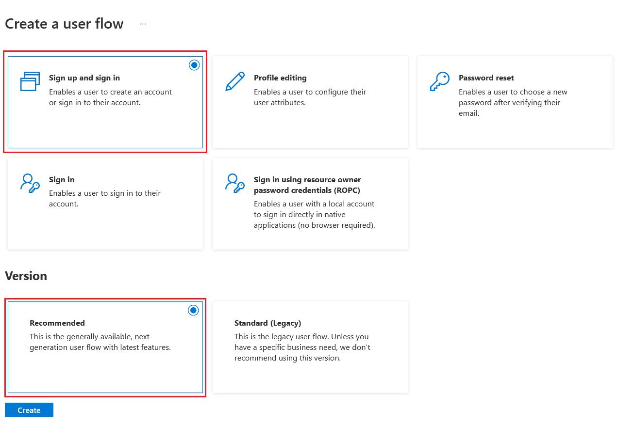 Create new user flow
